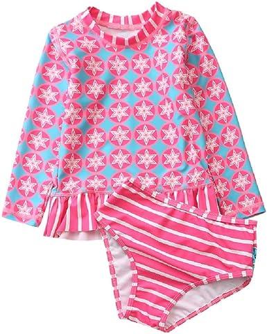 Achiyi Baby Girls Two Piece Swimsuits for Girls Kids Girls 1-8T Long Sleeve Rash Guard Bathing Suit Swimwear with UPF 50+