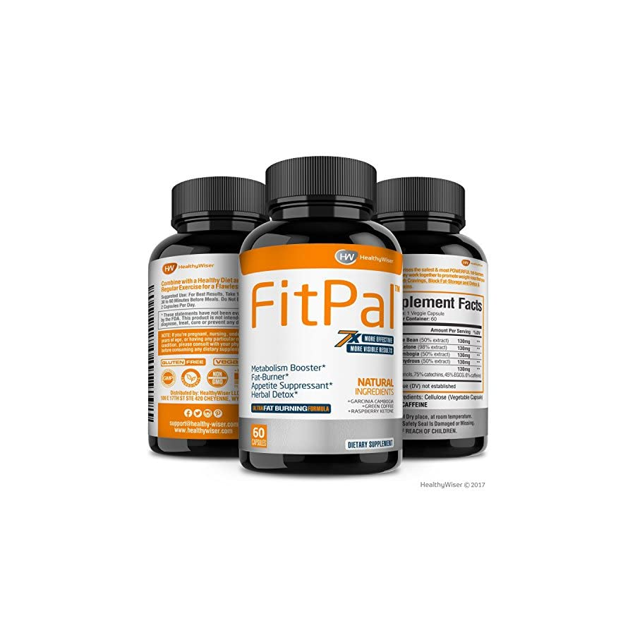 FITPAL™ Natural Thermogenic Fat Burner Energy and Metabolism Booster Pills with Green Coffee, Garcinia Cambogia & Raspberry Ketones. Effective Herbal Detox and Appetite Suppressant
