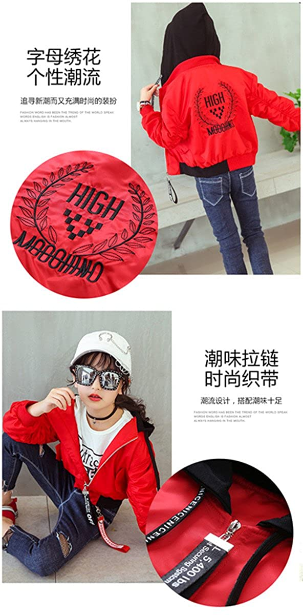 Long Sleeve Embroidered Big Children Brazer /& Sports Jacket Girls Fashion Sports /& Leisure Overcoat