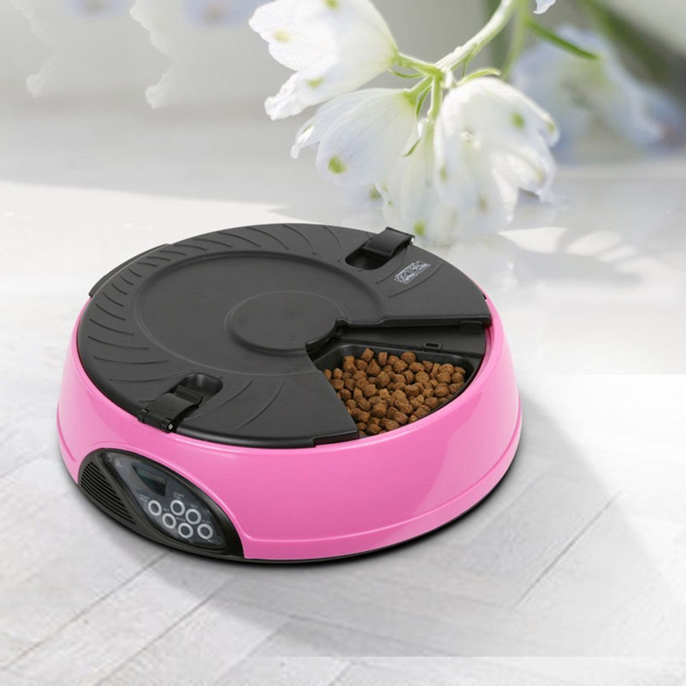 Xefeel Automatique Chien alimentation 6 repas minuterie programmable animaux chat chiot animales alimentaires Fournitures Bols LCD Rose