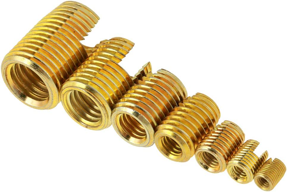 Bicaquu Strong Pull Resistance Economy Thread Insert Vibration Resistance Thread Slotted Insert for Electronics Industrial Metallurgy Machinery