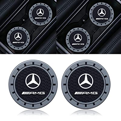 Goshion 2 Pcs 2.75 Inch Diameter Oval Tough Car Logo Vehicle Travel Auto Cup Holder Insert Coaster for Benz AMG A B C E S GLA GLE GLC GLS GLK All Models: Automotive