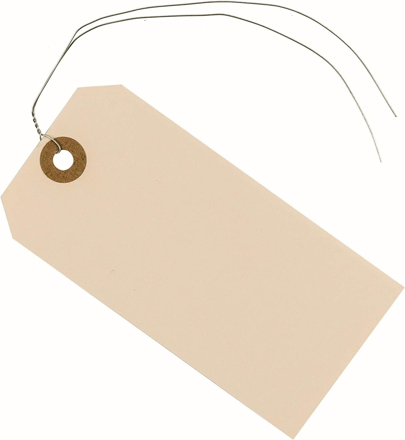 "Manila Paper Tags with Wire Attached 4 3/4"" x 2 3/8"" (12 x 6 cm) Box of 100 Blank Shipping Tags Wired with Reinforced Hole and Metal Wire Ties"