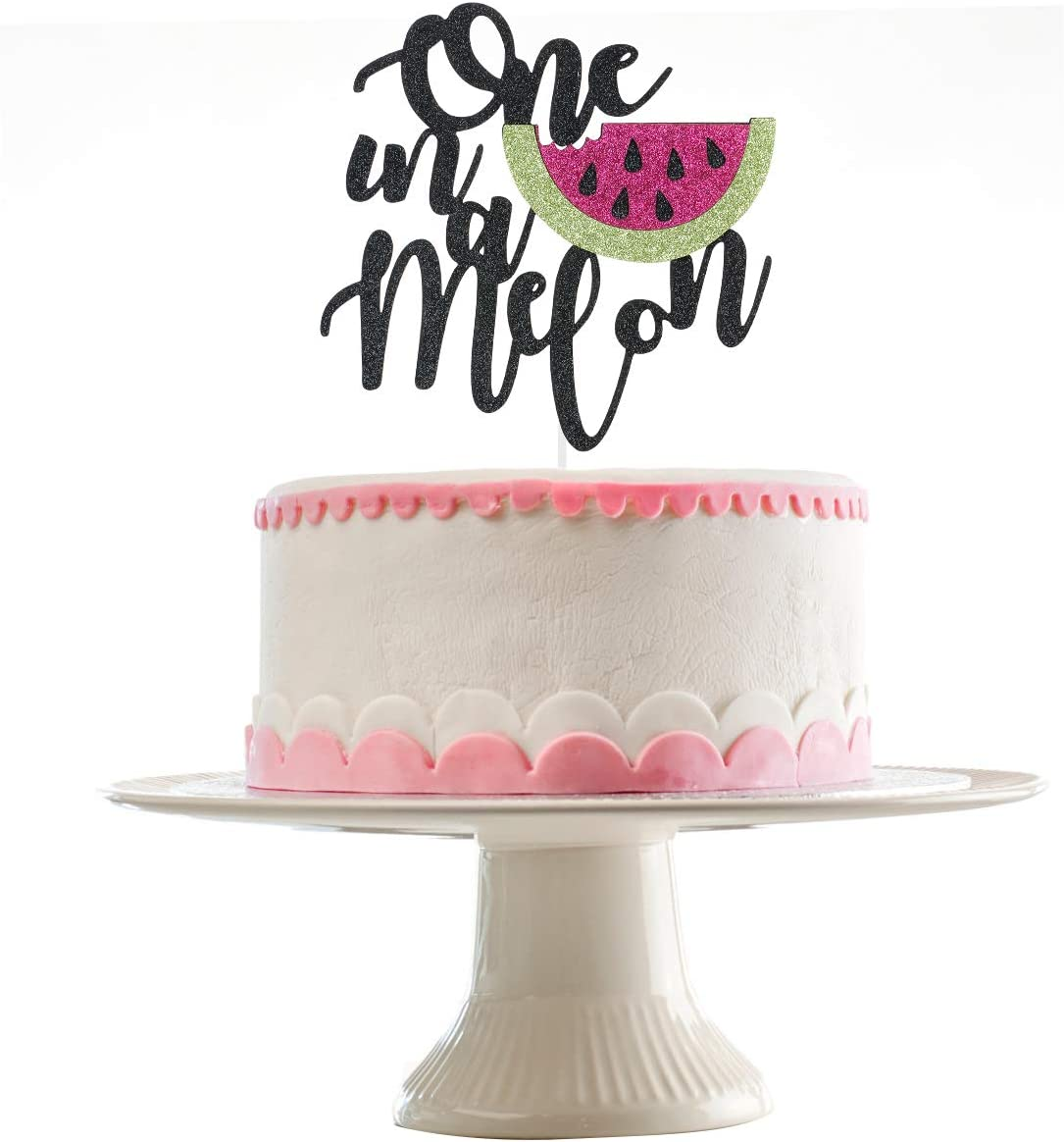Fabulous Amazon Com Black Glittery One In A Melon Cake Topper For 1St Personalised Birthday Cards Veneteletsinfo