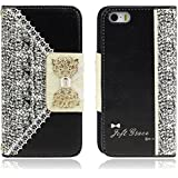 Malloom® Black Cute Flip Wallet Case Cover for Smart Mobile Phones (iPhone 5S 5 5th)