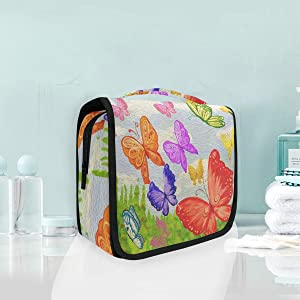 SLHFPX Hanging Toiletry Bag Butterfly Watercolor Waterproof Wash Bag Makeup Organizer for Bathroom Men Women