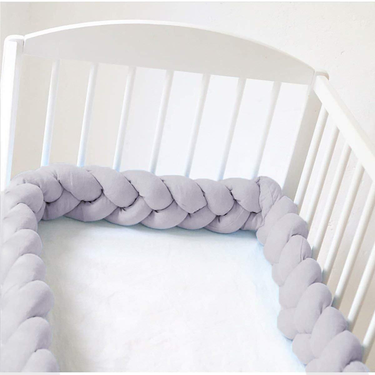 Baby Crib Bumper Knotted Braided Plush 78.7 inch 2m Baby Crib Bumper Knotted Nursery Gift Pillow for Newborns Bed Sleep Bumper (Gray) huahua