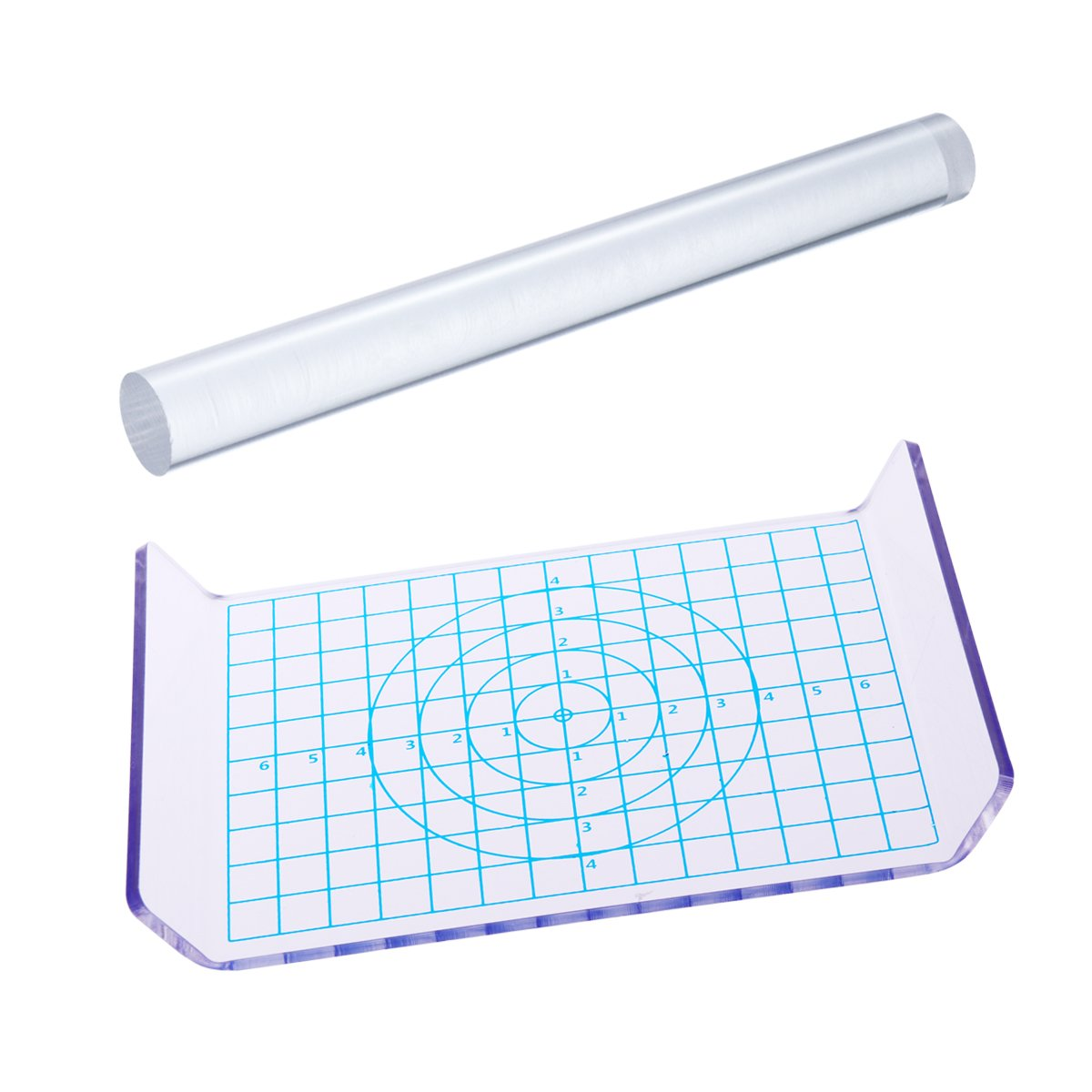 ROSENICE Acrylic Clay Roller with Acrylic Sheet with Measurement Grid for Shaping and Sculpting 2pcs