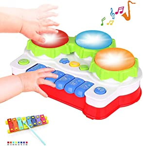 EXCOUP Baby Musical Toys Gifts for 1 Year Old Boys Girls, Entertainment at Home, Baby Drums Toy for 6-12-18 Month