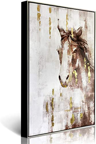 Lamplig Framed Canvas Wall Art Hand Painted Oil Painting Large 31.4 x 47.2 Inch Animal Artwork Brown Gold Gray White Horse Picture for Living Dining Room Bedroom Office Hallway, Ready to Hang