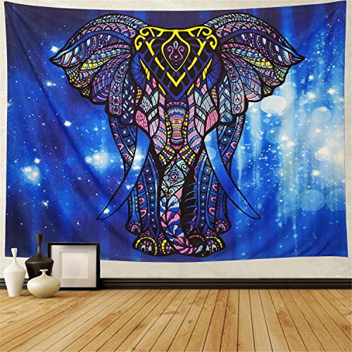 Ameyahud Elephant Tapestry Starry Watercolor Blue Elephant Wall Tapestry Bohemian Mandala Wall Hanging Tapestry Indian Hippie Psychedelic Tapestry for Bedroom Living Room Dorms
