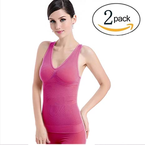 Lingssss Slimming Tank Top with Built-in Bra Removable Pads V-Neck T-Back,  2 Pack Wireless Cami Tank Top Slimming Vest, Camisole Compression Ribbed