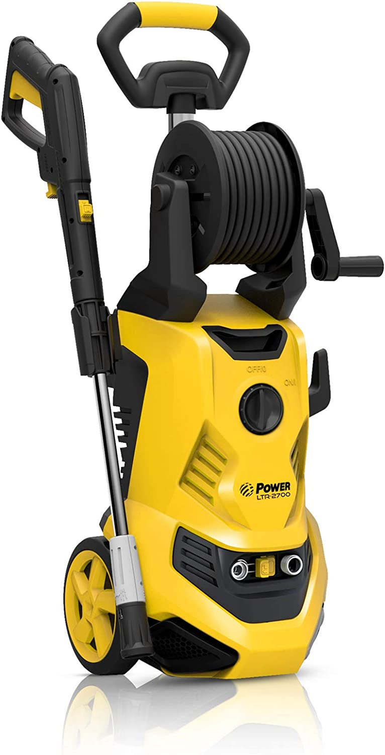 POWER Pressure Washer LTR-2700 PSI Electric 1.80 GPM Electric – Hose Reel – Super Compact – Portable – Ultra Low Sound – Power Efficient – Yellow