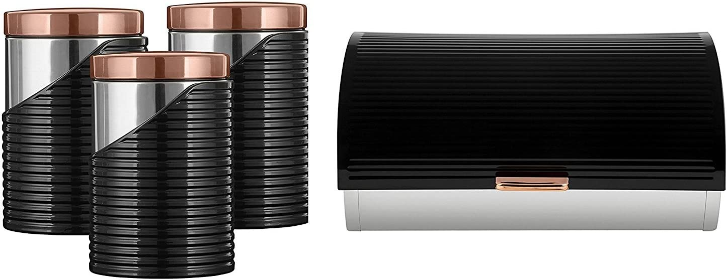 tw Tower Stylish Kitchen Accessories Set - ROSE GOLD & BLACK Linear Bread bin and Set of 3 Canisters