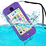 ULAK Waterproof Case for iPod Touch 5 & 6, Hybrid Swimming Built-in Touch Screen for Dustproof Sweatproof with Kickstand (Purple)