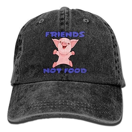Arsmt Vegan Friends Pig Not Food Denim Hat Adjustable Men Fitted Baseball (Tumblr Best Friend Costumes)