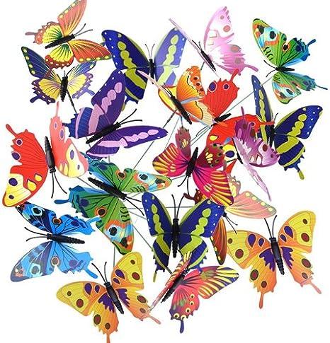 Jardinera de mariposas G2Plus 3D de mariposas, 18 unidades, adornos para jardín, estacas de mariposas para decorar el jardín con palos (9 colores)., 36 PCS 12 Colors: Amazon.es: Jardín