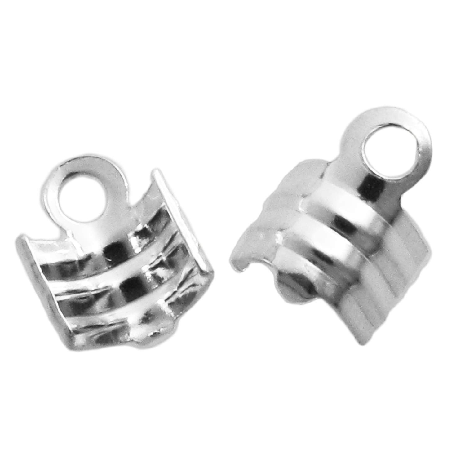 8pcs .925 Sterling Silver 3mm Leather Cord String Clip Cord End Crimp Cap/Findings/Bright