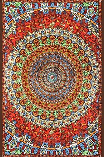 Sunshine Joy Handmade Cotton Grateful Dead Tapestry Psychedelic Bear Vibrations 60×90 w Loops
