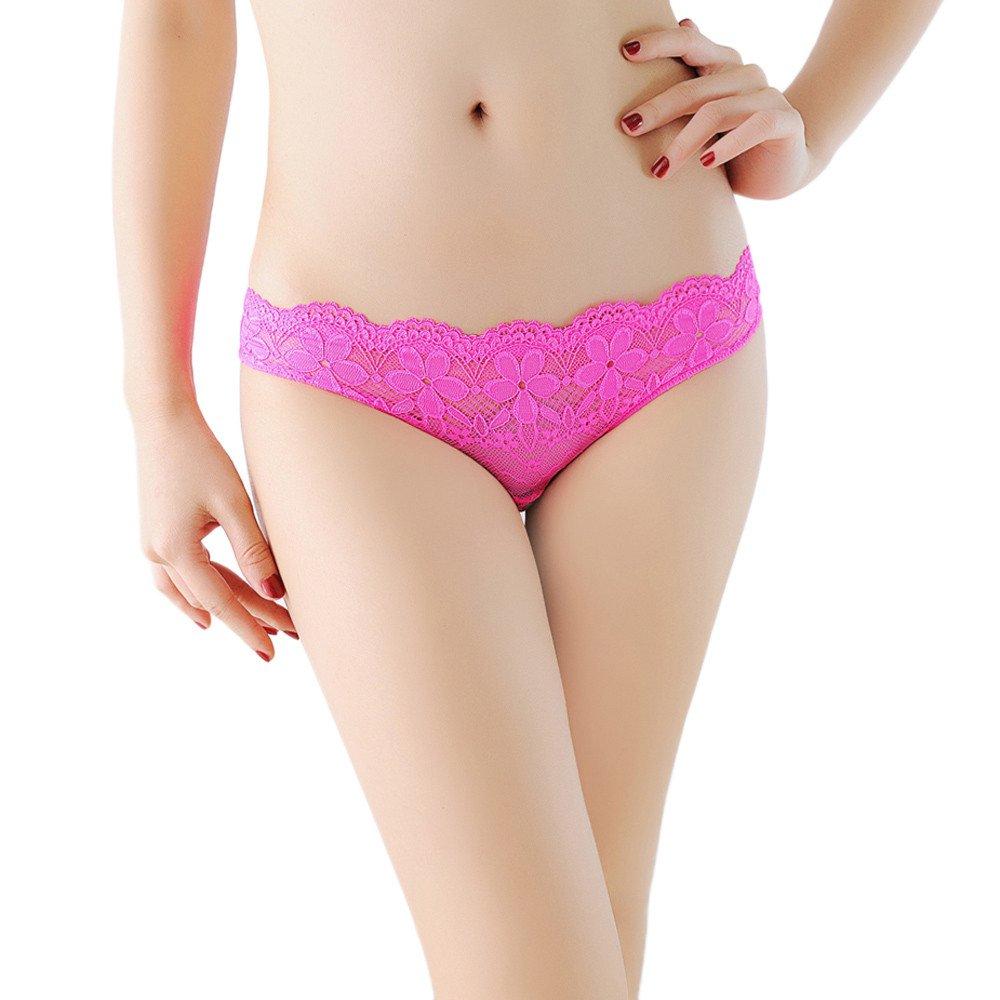 Women Hollow Briefs Lace Panties Thongs Lingerie Underwear (Free, Hot Pink)
