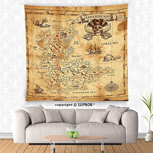 VROSELV custom tapestry Island Map Decor Tapestry Super Detailed Treasure Map Grungy Rustic Pirates Gold Secret Sea History Theme Wall Hanging for Bedroom Living Room Dorm Beige and Brown (Bed Poster Antique Treasures)