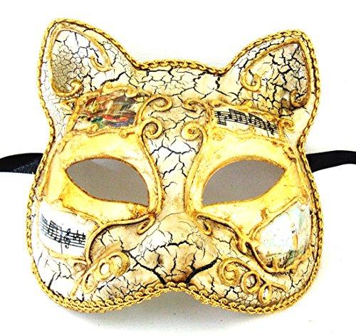Antique White Cat with Gold Mardi Gras Mask Venetian Gatto Halloween (Gatto Halloween)