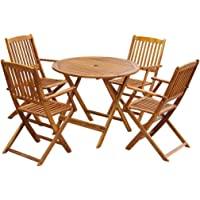 vidaXL Outdoor Dining Set 5 Piece Acacia Wood Folding Round Garden Table Chair