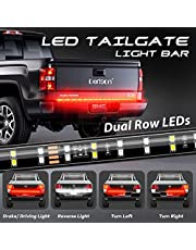 DERLSON LED Truck Tail Light, 60inch 2-Row Waterproof LED Truck Tailgate Light Bar Strip with Red White Color for Pickup Trucks Trailers