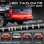 DERLSON LED Truck Tail Light, 60inch 2-Row Waterproof LED Truck Tailgate Light Bar Strip with Red White Color