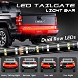DERLSON LED Truck Tail Light, 60inch 2-Row Waterproof LED Truck Tailgate Light Bar Strip with Red White Color for Pickup Trucks Trailers Cars SUV RV- Full Featured Running Reverse Brake Turn Signal
