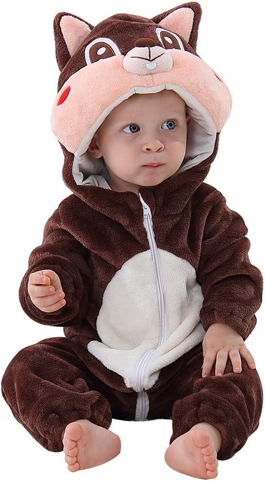 MICHLEY Disfraz Animal bebe niño y niña body pijama ropa, marrón 2 a 5 meses