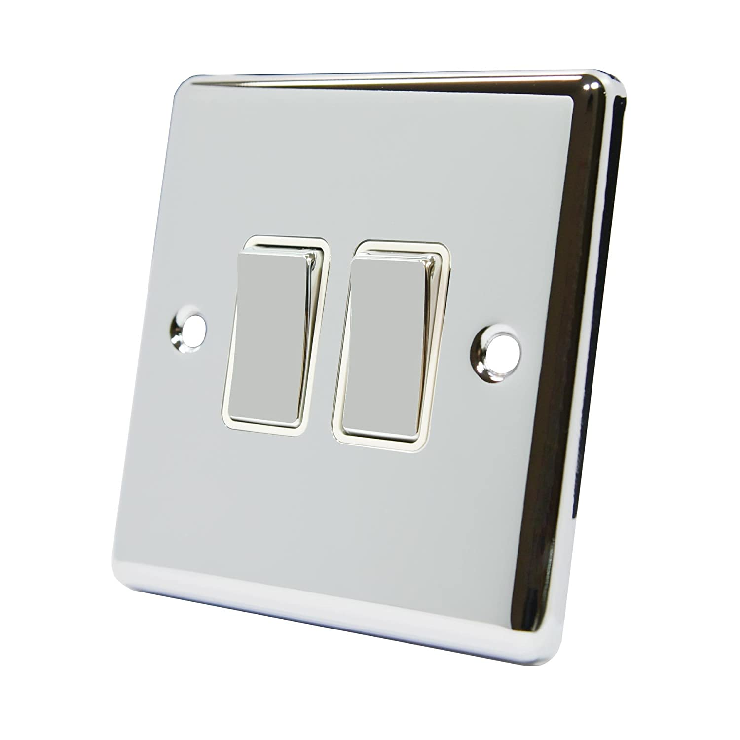 Light Switch 2 Gang Polished Chrome - Classic - White Insert Metal Rocker Switches - 10A Double 2 Way AET SWI2GCCWC