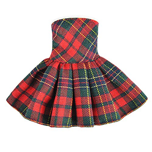 E-TING Santa Couture Clothing for elf (Red-Green Plaid Dress) Doll is not Included]()