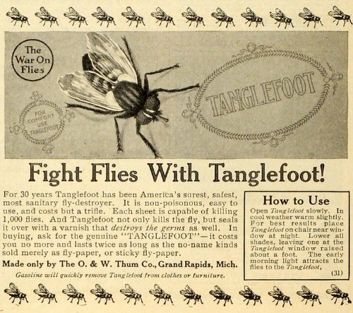1914 Ad O. & W. Thum Tanglefoot Fly Catchers Sticky Paper Flypaper Pests Bugs - Original Print Ad