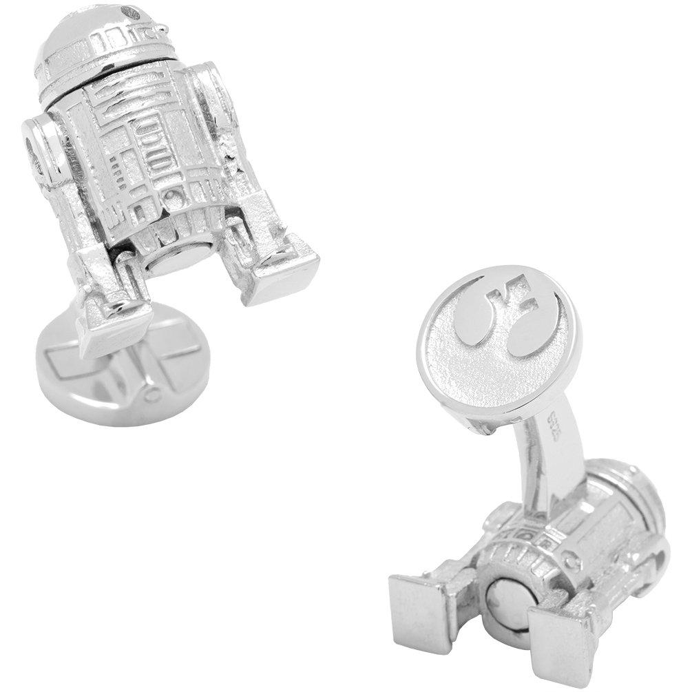 R2D2 Officially Licensed Star Wars 3D R2D2 Cufflinks, Silver