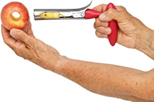 Home-X Premium Apple Corer Remover, Stainless Steel Apple or Pear Core Remover Tool for Home & Kitchen with Sharp Serrated Blade