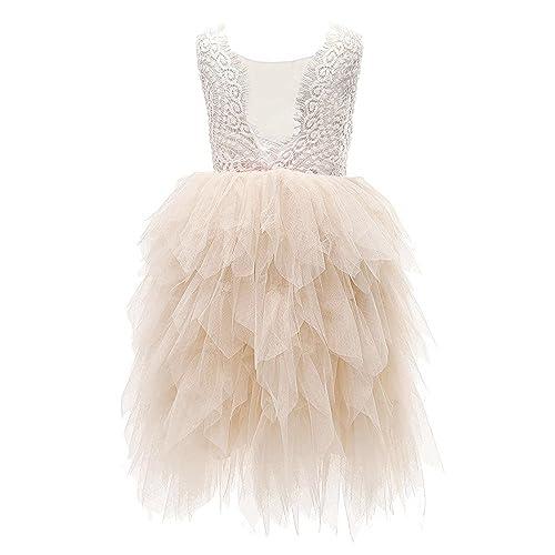 62ada2955cf Topmaker Backless A-line Lace Back Flower Girl Dress