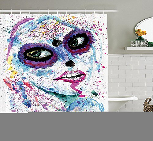 [Girly Decor Collection Grunge Halloween Lady with Sugar Skull Make Up Creepy Dead Face Gothic Woman Artsy Print Polyester Fabric Bathroom Shower Curtain Set with Hooks Blue] (Sugar Skull Makeup Ideas)