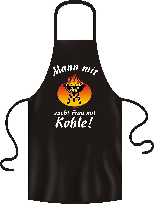 Schü rze - Grillschü rze - Kochschü rze - Mann mit Grill sucht Frau mit Kohle - Lustige Sprü che Schü rze als Geschenk fü r Grill Fans mit Humor