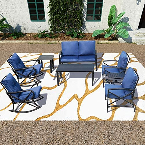 PatioFestival Cushioned Metal Outdoor Conversation Sets,8 PCs All Weather Padded Furniture Sectional Sofa Sets w/Loveseat,Rocking Chairs,Coffee Table