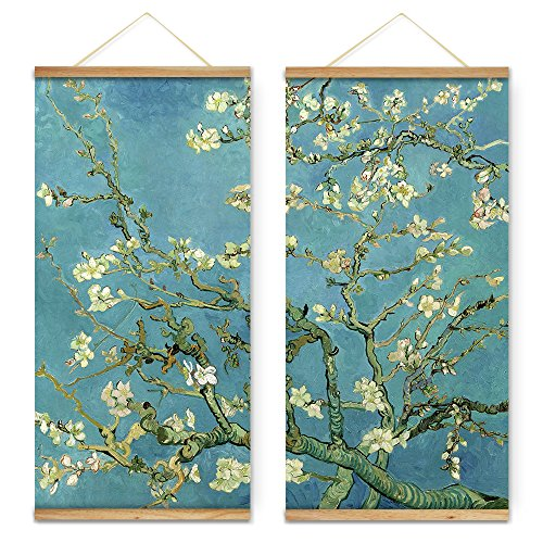 Scroll Wall Art Painting (ARTGOW 2 Pieces Impressionism Vincent Van Gogh Almond Blossom Flowers Trees Decoration Wall Art Pictures Canvas Print Wooden Framed Scroll Paintings For Living Room Ready To Hang)