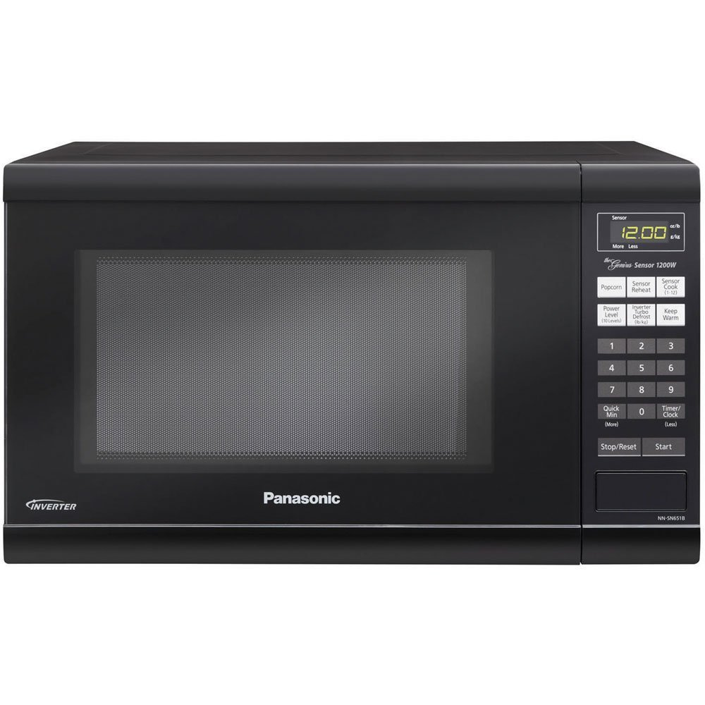 Microwave Oven Compact Countertop Panasonic Electric Black 1200 Watt Inverter Cookware With Free Pot Holders