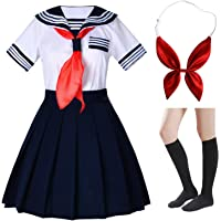 Elibelle Japanese School Girls Short Sleeve Uniform Sailor Navy Blue Pleated Skirt Anime Cosplay Costumes with Socks Set