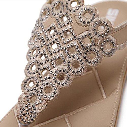 de Plage T Tissé Toe Élastique Plage Femme Strass Arrière Clip Plat Sandales Fille Eté Strap Minetom Chaussures Abricot 7OqUx