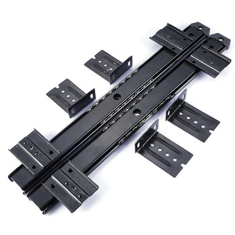 HomDSim 14 inches Ball Bearing Desk Keyboard Drawer Tray Slide Rail Track 3/4 Extension Adjustable Steel Metal High Pound Capacity Side Mount Suites Underdesk with Screws Black