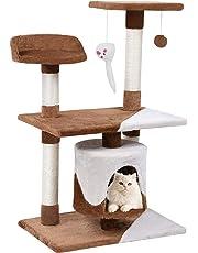 Wellhome Árboles para Gatos Rascador para Gato Escalador para Gatos Juguete de Sisal 95cm Clásico Marrón
