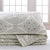 Elegant Life All-season 100% Cotton Super Soft Medallion Solid Embroidery Shams Pillowcases, Standard(20''x 26''), Ivory