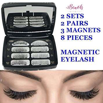 b2a348b9e87 Benols Beauty Pack of 8pcs, 2 Pairs, 2 Style Magnetic Eyelashes, Dual Fake