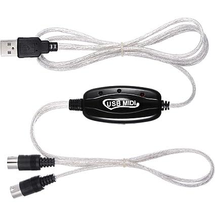 Zacro USB a MIDI Cable Adaptador de interfaz 2 m teclado musical Piano para PC portátil