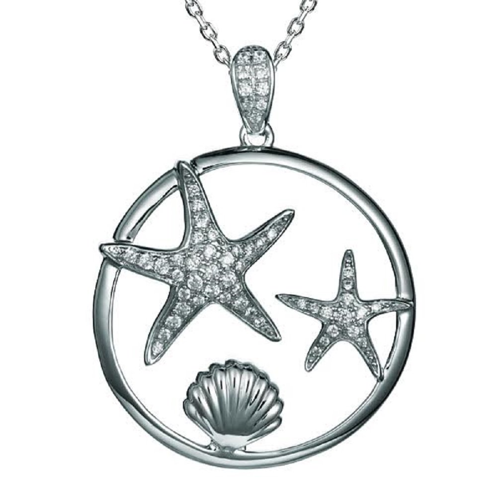 Sterling Silver Pave CZ Starfish /& Sunrise Shell Necklace Pendant with 18 Box Chain
